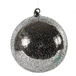 Weihnachtskugel, Deko Hänger Kugel PEPITO S silber D. 8cm Glas Decostar WA