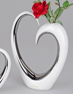 Deko Vase Herz B. 23cm H. 32cm weiß silber glasierte Keramik Formano F21