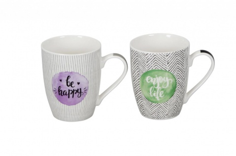 Becher Tasse 2er Set Enjoy life - Be Happy D. 8cm H. 10, 5cm verschiedene Farben