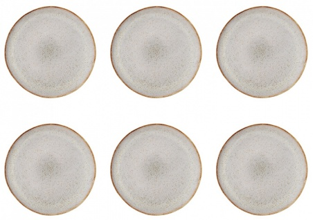 6x Speiseteller, Essteller SANDRINE hellgrau D. 28, 5cm Keramik Bloomingville