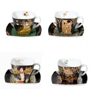 4er Set Gustav Klimt Tassen mit Untertasse ALLE MOTIVE 250ml Goebel Porzellan