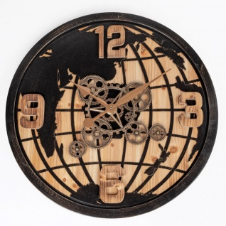 Wanduhr GLOBUS mit Weltkarte D. 65cm schwarz kupfer Metall + Holz Formano