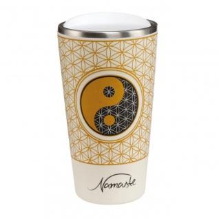 Lotus Kaffeebecher to go Yin Yang weiß Bambus Kombi, H. 16cm 500ml Goebel WA
