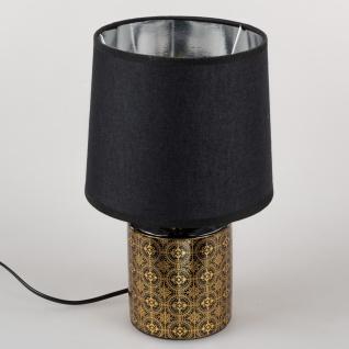 Tischlampe MODERN ORNAMENTS rund H. 30cm schwarz gold Keramik Formano