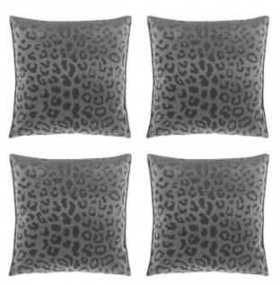 4er Set Kissen mit Füllung NALA LEO Muster 45x45cm dark grey grau Unique Living