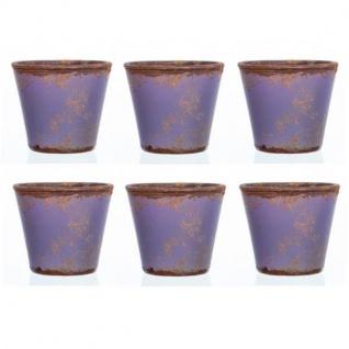 6er SET Teelichthalter VINTAGE lila Glas H 10cm Ø 11cm rund Sandra Rich