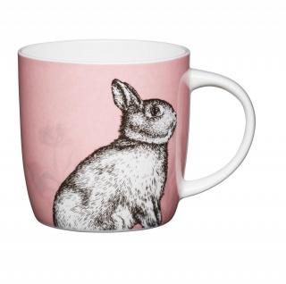 Becher, Tasse COTTAGE Hase für 425ml weiß bunt Porzellan KitchenCraft
