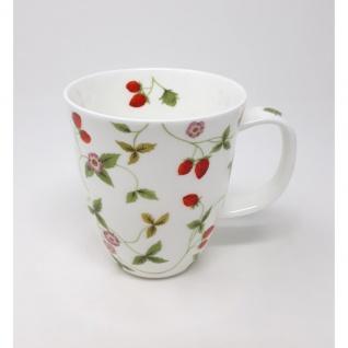 Tasse, Becher MIRELLA Erdbeeren für 350ml Porzellan weiß rot grün TeaLogic