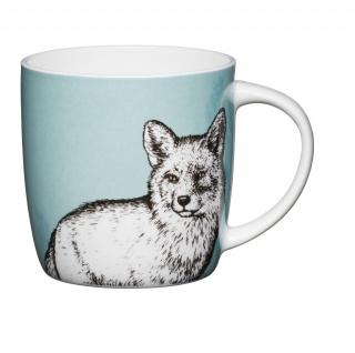 Becher, Tasse COTTAGE Fuchs für 425ml weiß bunt Porzellan KitchenCraft