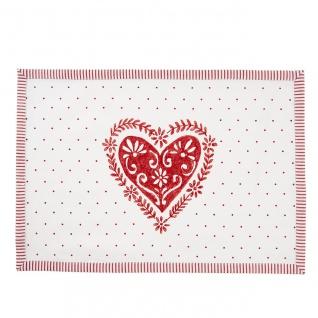 6er SET textile Tischsets, Platzsets Herz weiß rot 48x33cm Clayre & Eef