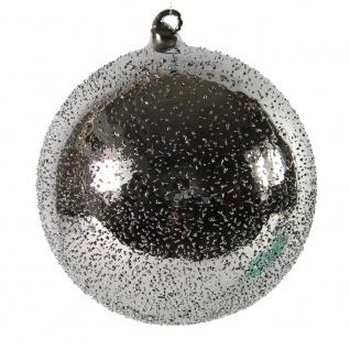 Weihnachtskugel, Deko Hänger Kugel PEPITO M silber D. 10cm Glas Decostar W17