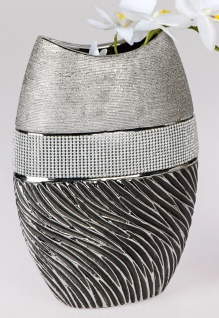 Deko Vase STRASS MAGIC oval H. 30cm grau silber Keramik Formano