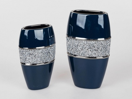 2er Set Deko Vasen NACHTBLAU STRASS H. 25 + 29cm blau silber Keramik Formano