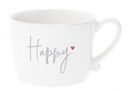 Becher, Tasse HAPPY HEART weiß grau rot 300ml Keramik Bastion Collections