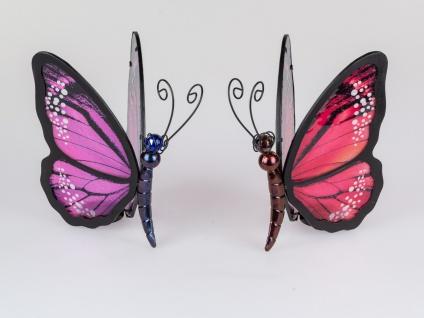 2er Set Teelichthalter Schmetterlinge rot + lila aus Metall mit Glas Formano