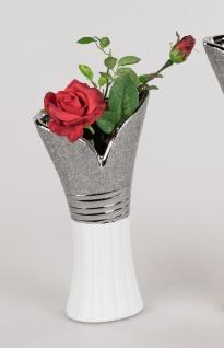 Deko Vase WHITE SILVER mit Relief H. 29, 5cm weiß silber Keramik Formano