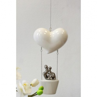 Hängedeko Hänger LOVE BALLON weiß silber Keramik + Metall H. 29cm Casablanca