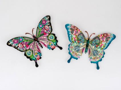 2er Set Wanddeko Schmetterlinge COLORS B. 26cm bunt aus Metall Formano F21