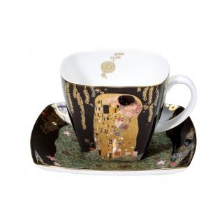 Gustav Klimt Tasse mit Untertasse DER KUSS H. 10cm 250ml Goebel Porzellan