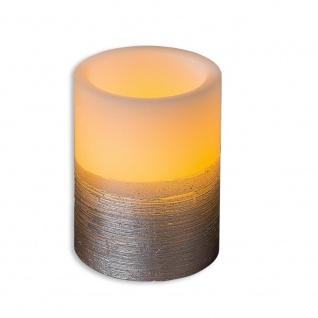 LED Kerze mit Wackeldocht D 18cm weiß silber Formano 9cm H
