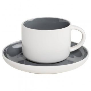 Tasse mit Untertasse TINT weiß dunkelgrau 240ml Porzellan Maxwell & Williams