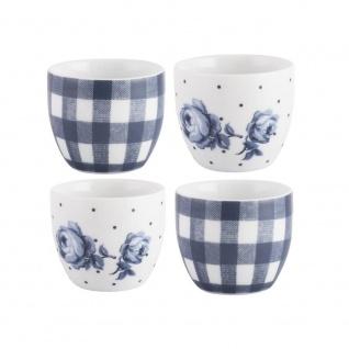 4er Set Eierbecher VINTAGE INDIGO blau weiß Porzellan Creative Tops