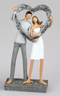 Dekofigur Paar hält Herz H. 27cm handbemalt weiß grau silber Formano