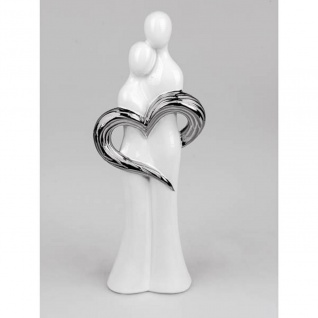 Dekofigur, Skulptur Paar mit Herz H. 44cm weiß silber Keramik Formano
