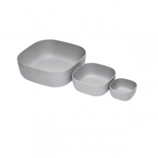 3er SET Schalen eckig 10+15+24cm Bambus silver grau Magu NATUR DESIGN