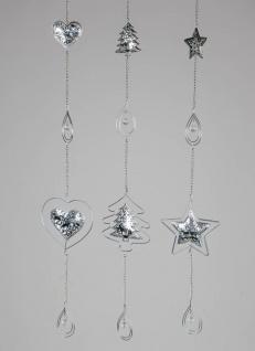 3er SET Weihnachtliche Deko Hänger Girlanden L. 75cm silber Metall Formano W19