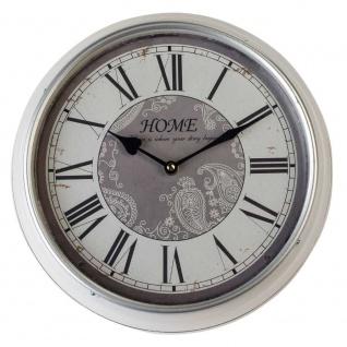 Wanduhr HOME D. 31cm Metall + Glas silber grau rund Formano