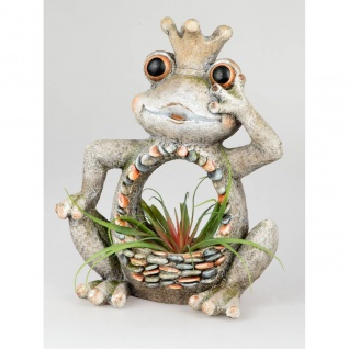 Pflanzschale, Pflanzgefäß Frosch STONES H. 50cm creme grau Magnesia Formano F20