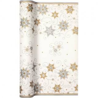 Papier Tischläufer STARS Sterne weiß gold silber 40x490cm Airlaid Home Fashion