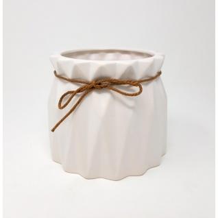 Übertopf, Deko Vase CRINKLE large H. 13cm D. 16cm weiß rund Keramik Sandra Rich