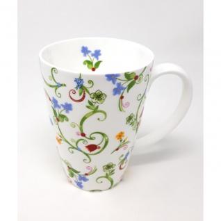 Jumbo Becher Tasse FLEURETTE für 500ml weiß Blumen Porzellan TeaLogic