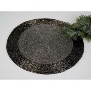 8er SET Platzsets, Tischsets PERLEN Perlen schwarz silber D. 35cm rund Formano
