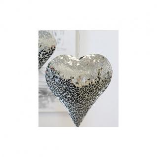 Hängedeko Hänger HERZ MOSAIK Metall Glas Keramik weiß silber 33x33cm Casablanca