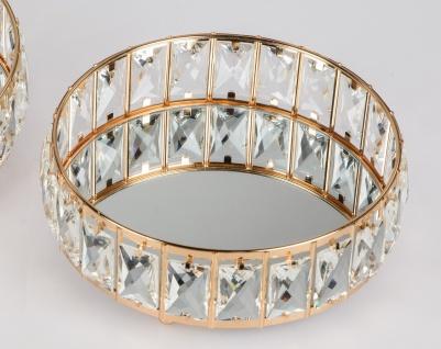 Spiegeltablett RHINESTONES GOLD D. 25cm gold mit Kristallsteinen Formano