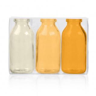 3er Pack Flaschenvasen BOTTLE H. 10cm D. 5cm gelb orange Glas Sandra Rich