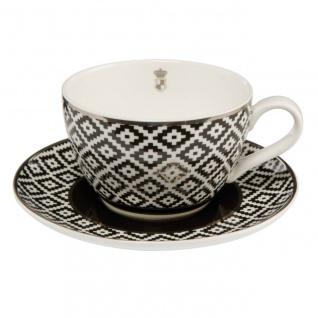 Tasse mit Unterteller CHATEAU DIAMONDS für 250ml schwarz weiß Goebel Porzellan W