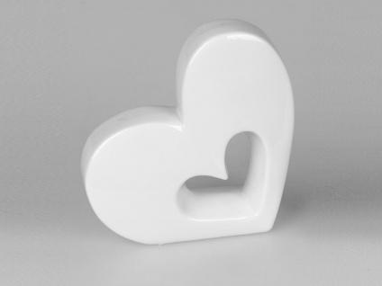 Dekobjekt Herz liegend H. 13cm weiß Keramik Formano
