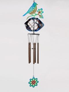 Deko Hänger Windspiel Vogel mit Windrad H. 44cm D. 14cm aus Metall Formano F21