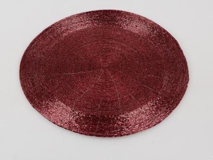 8x Platzset, Tischset PERLEN rund beere rot D. 35cm Formano