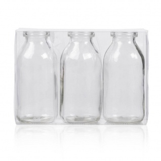 3er Pack Flaschenvasen BOTTLE H. 10cm D. 5cm transparent Glas Sandra Rich