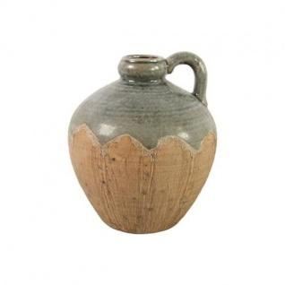 Deko Vase CARMEL mit Henkel M H. 24cm D. 20cm grau braun Keramik Decostar WA