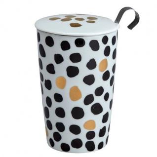 TEAEVE® Teetasse, Becher mit Sieb und Deckel LUX DOTS schwarz weiß gold Eigenart