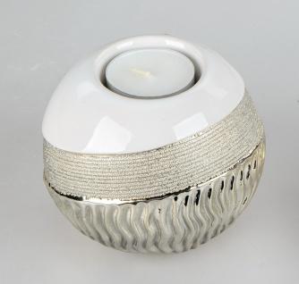 Teelichthalter GOLDWAVES Kugel D. 10cm weiß champagner gold Keramik Formano W19