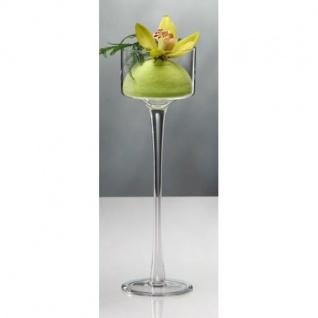 6er SET Kerzenhalter, Teelichthalter auf Fuß Glas H. 35cm D. 9cm Sandra Rich