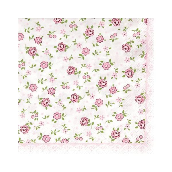 20er Pack Servietten KLEINE ROSEN weiß rosa 33x33cm Papier Home Fashion