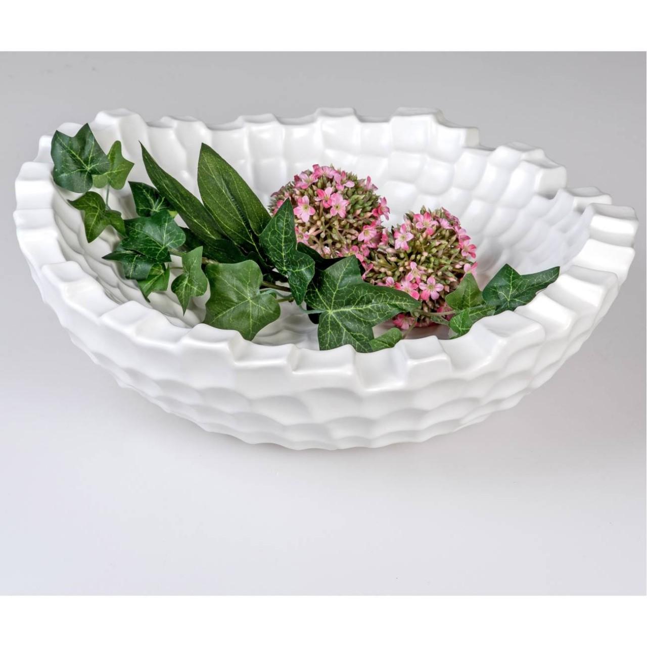 Teller BLATT L Dekoschale 26cm weiß glänzend Keramik länglich Formano